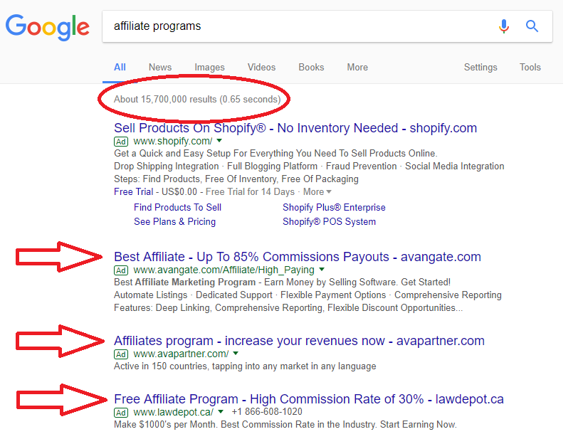 "Google ""affiliate programs"" and check the results"