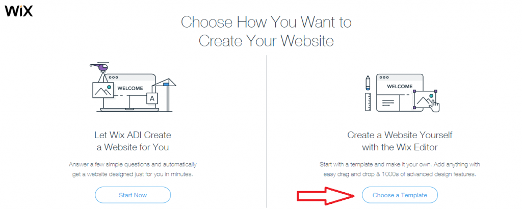 Select the template option to choose a template