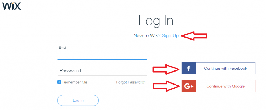 Create your Wix account, or login with Facebook or Google