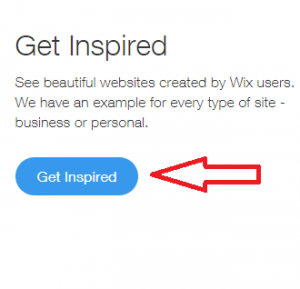 """Click """"Get Inspired"""" to preview beautiful Wix websites"""
