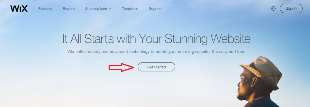 """Click on """"Get Started"""""""